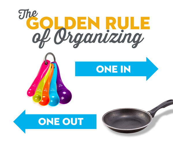 The goden rule of organizing.  One in. One out.