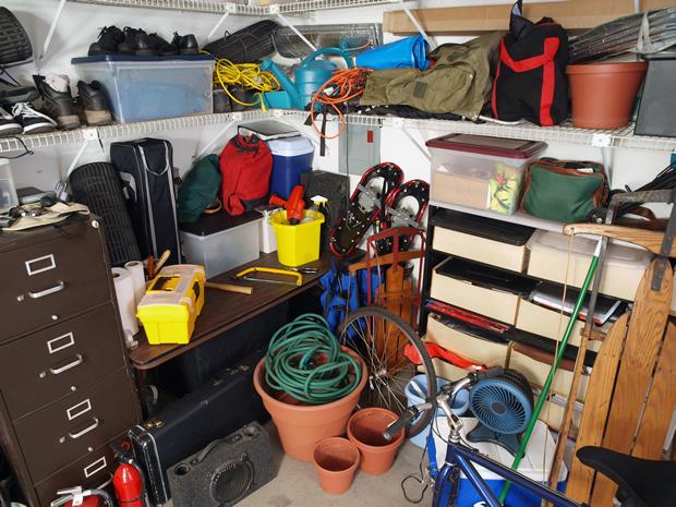 cluttererd garage