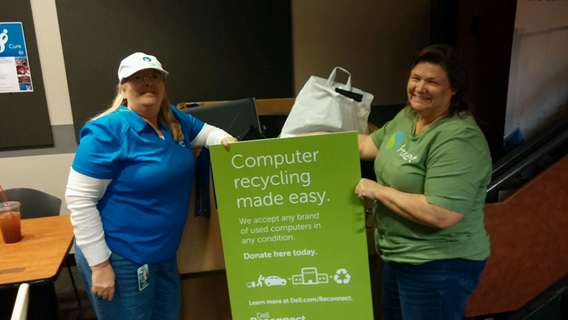 Dell Employees, hard at work recycling electronics!