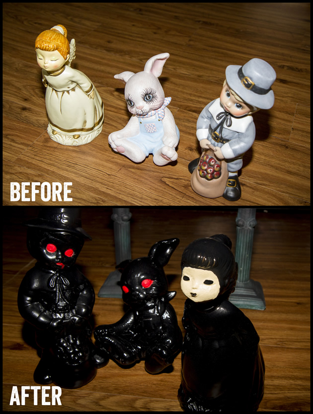 before: cute figurines; after:scary figurines
