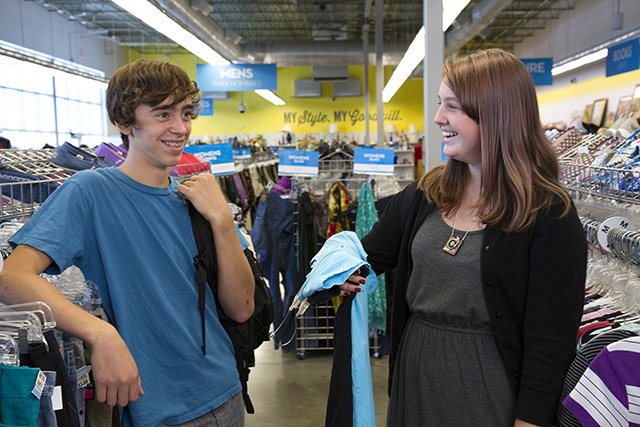 students conversing in the store