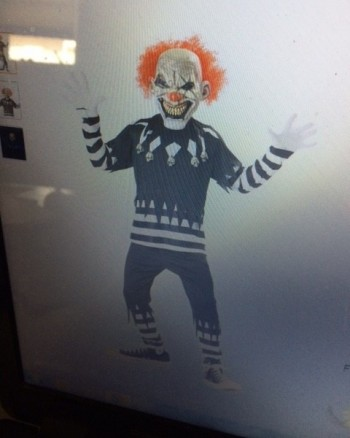 image of scary clown on computer screen