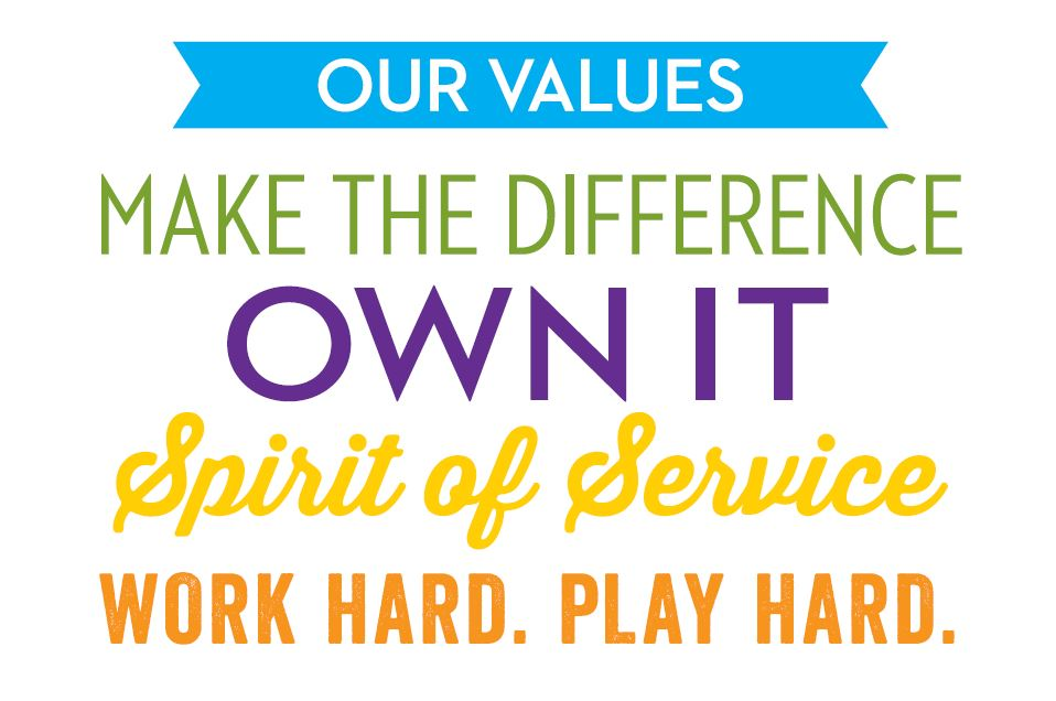 Our Values: Make the Difference, Own it , Spirit of service, Work Hard Play HArd