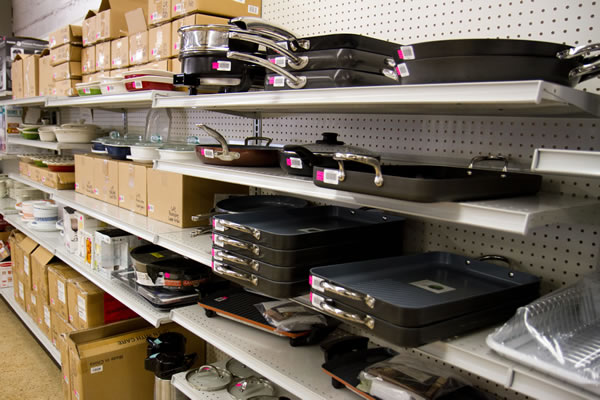shelves with cooking supplies