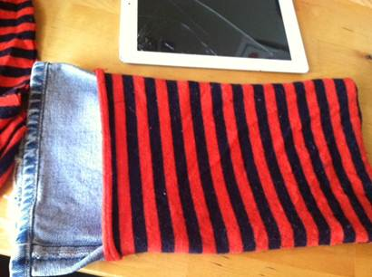 denim leg inside wool pouch
