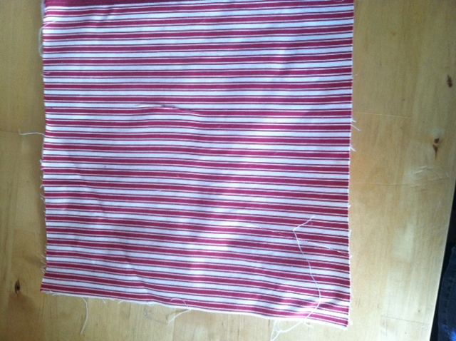 purple and white striped material