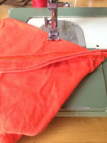 shirt on sewing machine - folded
