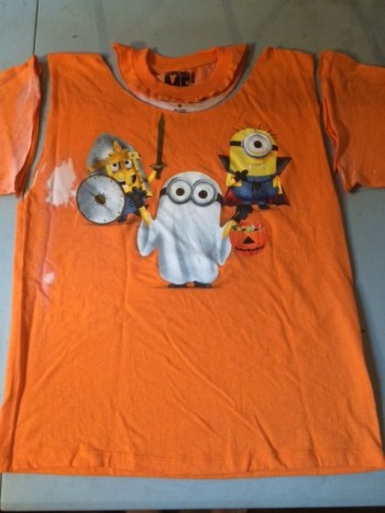 orange shirt with halloween images - sleeves and neck cut off