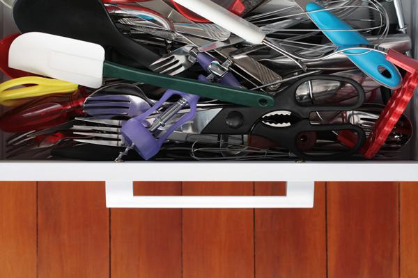 crammed kitchen drawer