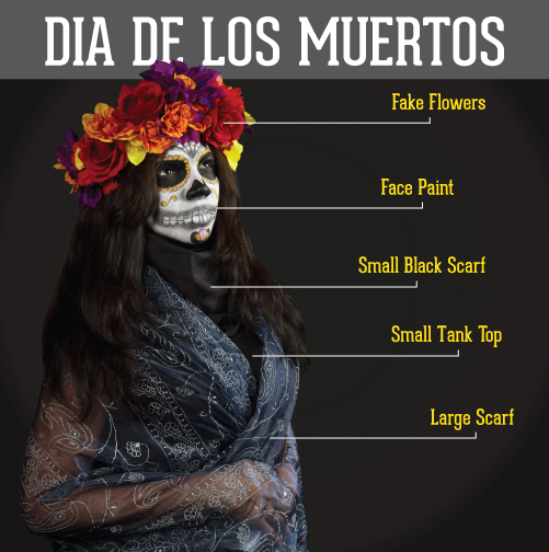 Dia de Los Muretos: fake flowers, face paint, small black scarf,small tank top, large scarf