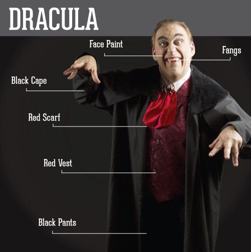 Dracula: face paint, fangs, black cape, red scarf, red vest,  black pants