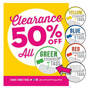 50% off all green sticker tags