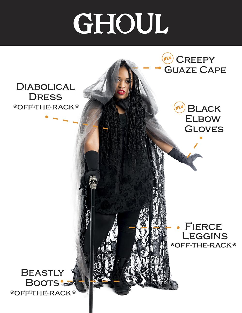 Ghoul: creepy gauze cape, black elbow gloves