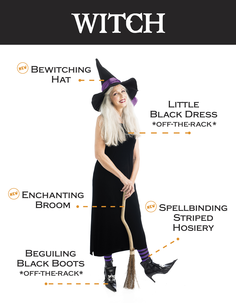 Witch: Bewitching Hat, Little black dress, enchanting broom, spellbinding striped hosiery