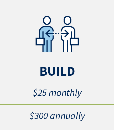 Build: $25 monthly, $300 annually